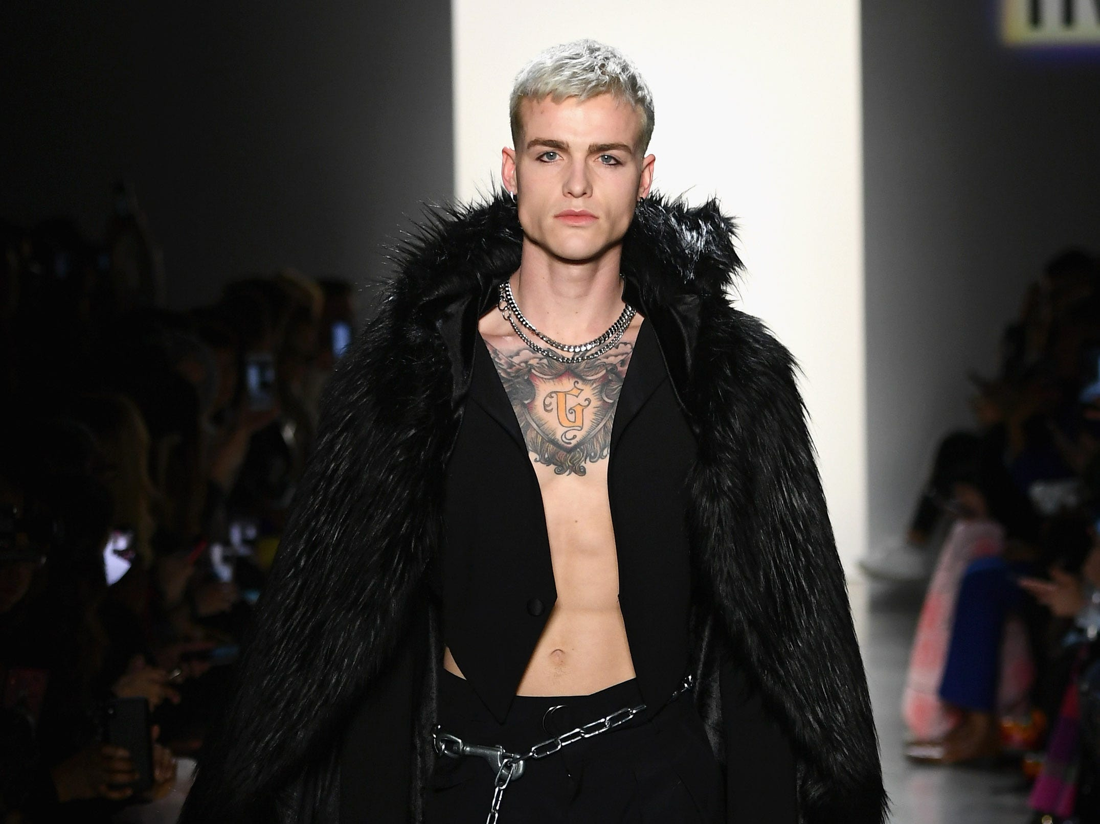 A model walks the runway for Hakan Akkaya's fashion show during New York Fashion Week