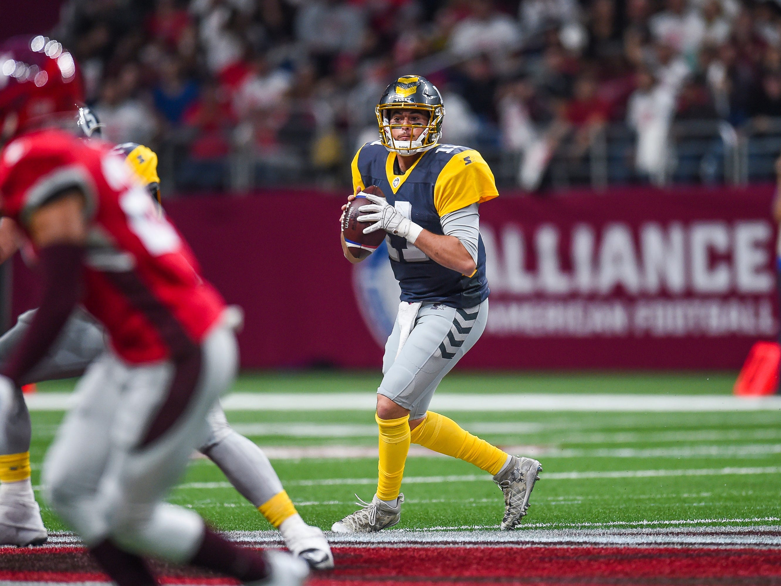 San Diego Fleet quarterback Mike Bercovici looks to pass during the AAF game against the San Antonio Commanders at the Alamodome in San Antonio. The Commanders won the game, 15-6.