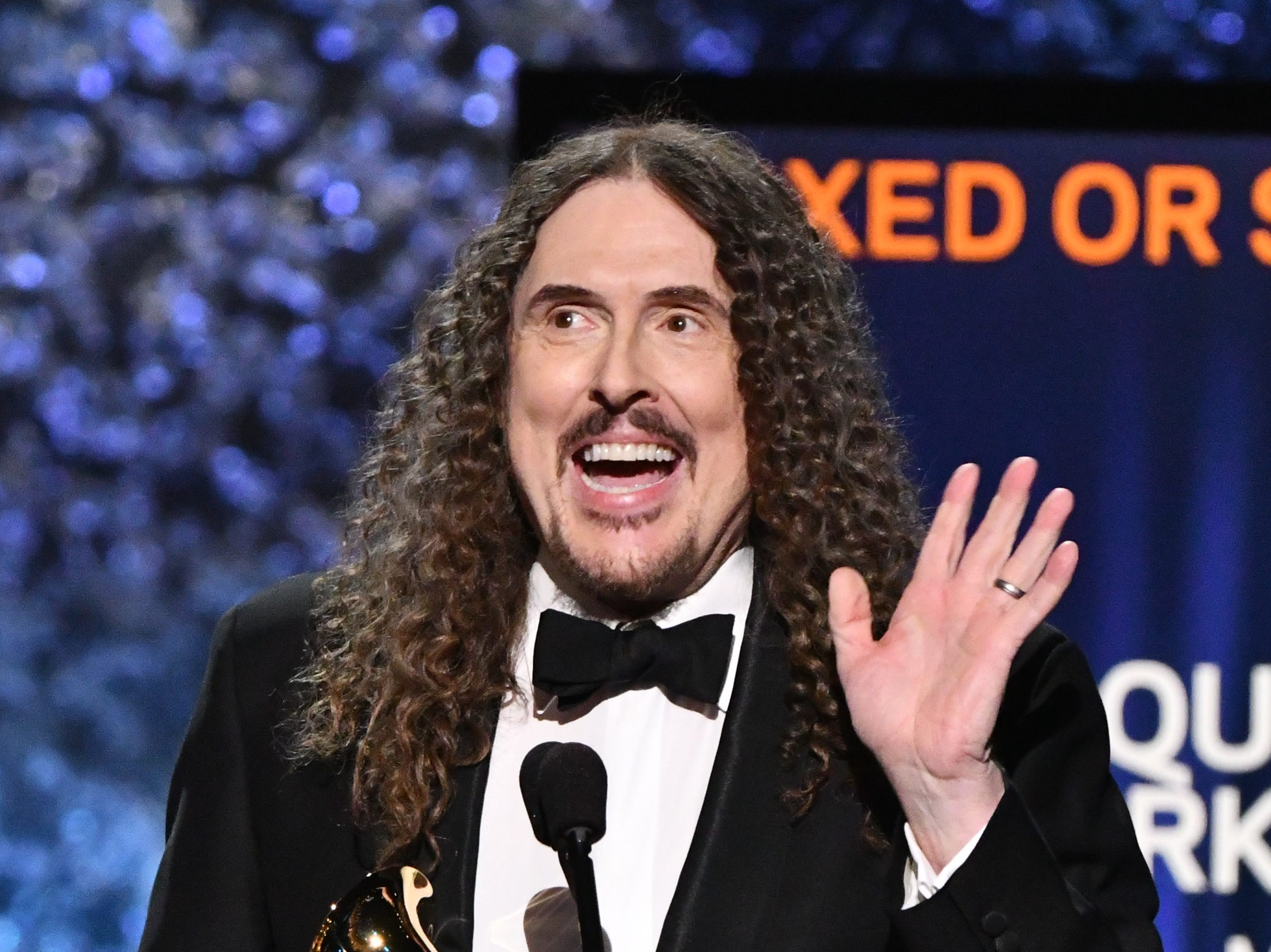 "Al Yankovic accepts the award for Best Boxed or Special Limited Edition Package for ""Squeeze Box: The Complete Works Of ""Weird Al"" Yankovic."""