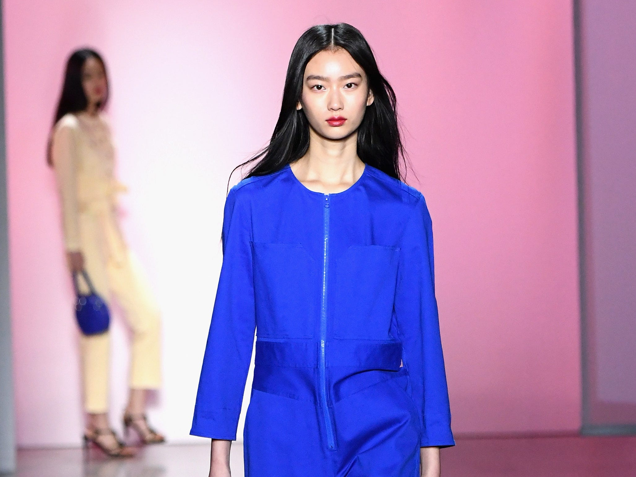 NEW YORK, NY - FEBRUARY 10:  A model walks the runway for the Rebecca Minkoff fashion show during New York Fashion Week: The Shows at Gallery I at Spring Studios on February 10, 2019 in New York City.  (Photo by Mike Coppola/Getty Images for NYFW: The Shows) ORG XMIT: 775290847 ORIG FILE ID: 1097085550