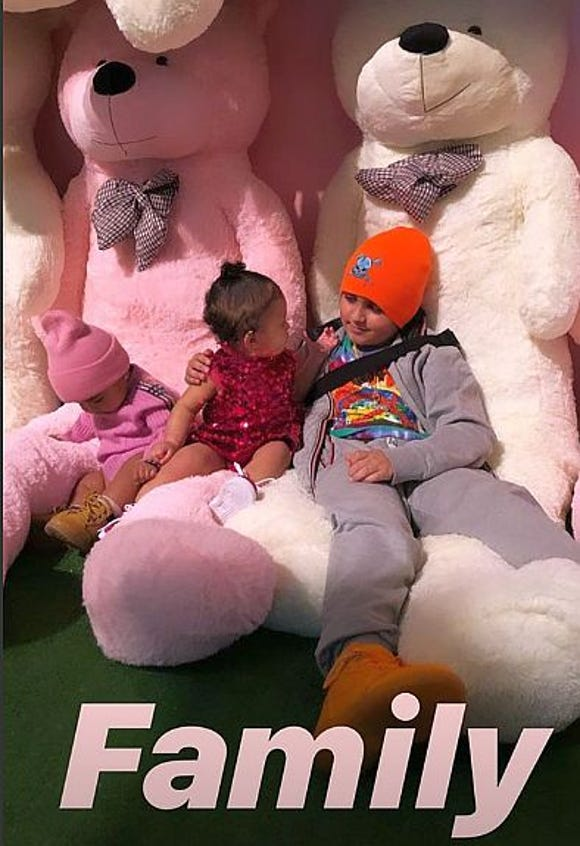 Khloe Kardashian captured this shot on her Instagram story of daughter True and Kourtney Kardashian's son, Mason Disick, 9, at Stormi's birthday party.