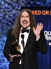 "Weird Al Yankovic accepts the award for Best Boxed Or Special Limited Edition Package for his ""Squeeze Box"" compilation at the Grammy Awards Premiere Ceremony in Los Angeles."