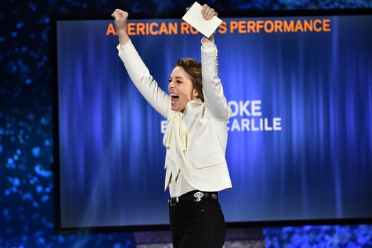 """Brandi Carlile accepts the award for Best American Roots Performance for """"The Joke"""" at the Grammy Awards Premiere Ceremony in Los Angeles"""