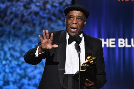 "Buddy Guy accepts the award for Best Traditional Blues Album for ""The Blues is Alive and Well."""