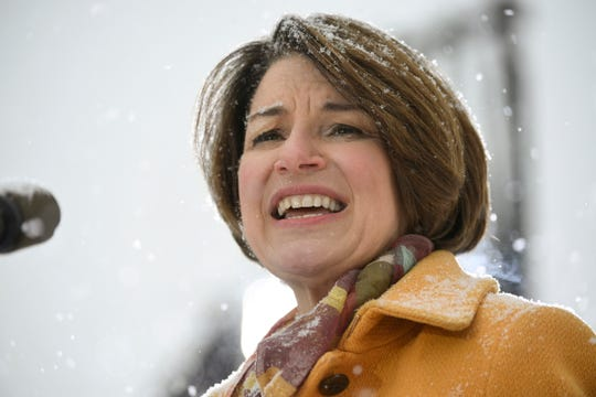 Democratic Sen. Amy Klobuchar of Minnesota announces that she is running for president  in Minneapolis on Feb. 10, 2019.