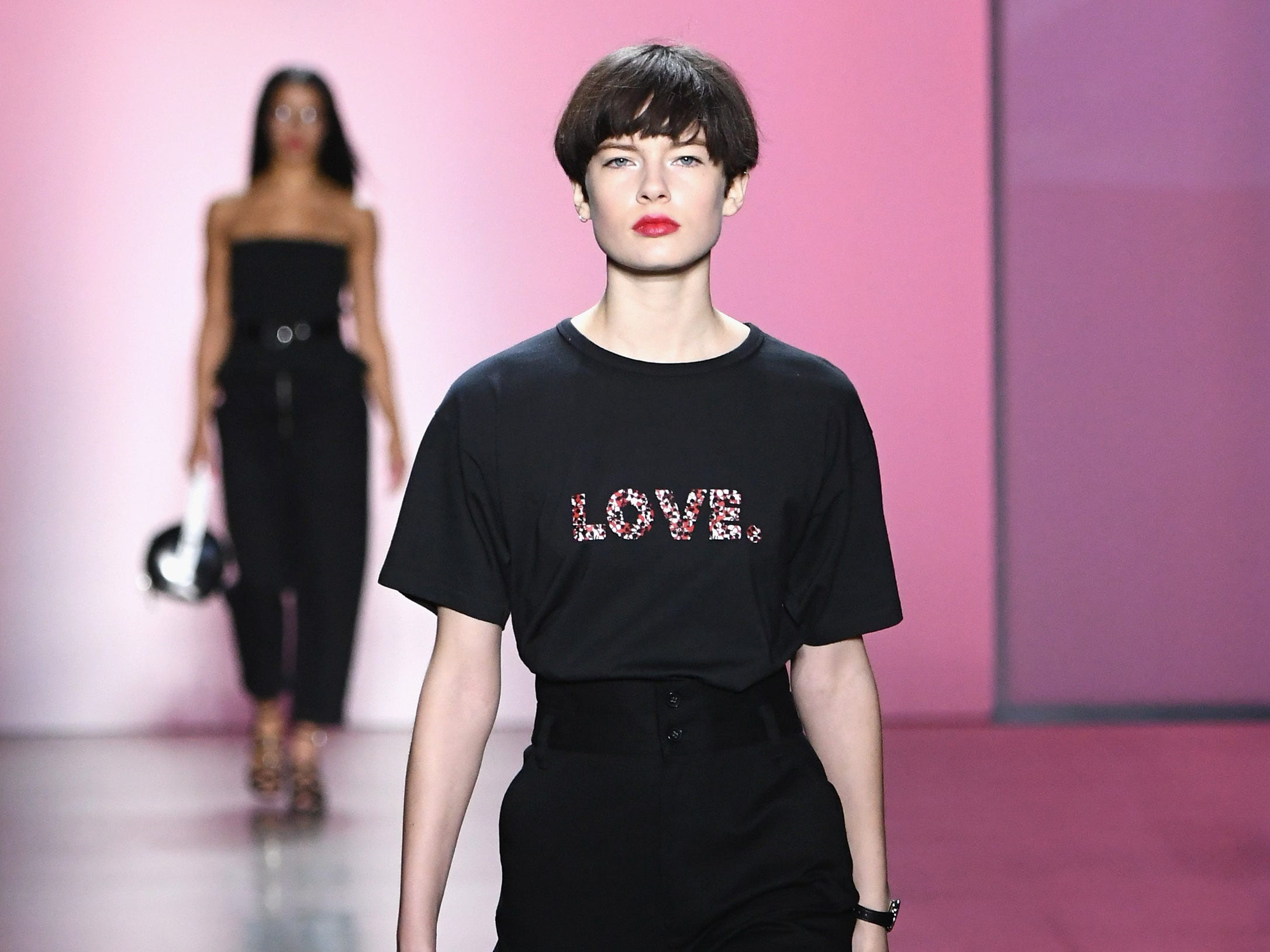 NEW YORK, NY - FEBRUARY 10:  A model walks the runway for the Rebecca Minkoff fashion show during New York Fashion Week: The Shows at Gallery I at Spring Studios on February 10, 2019 in New York City.  (Photo by Mike Coppola/Getty Images for NYFW: The Shows) ORG XMIT: 775290847 ORIG FILE ID: 1097085566
