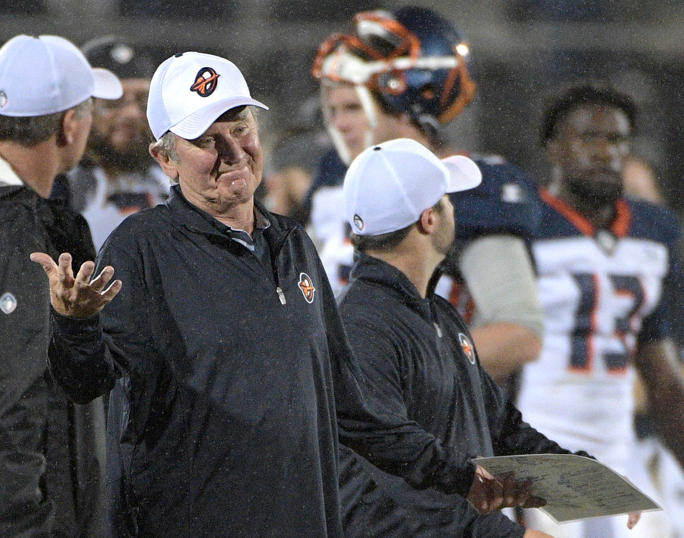 Orlando Apollos coach Steve Spurrier is mic'd up during games.