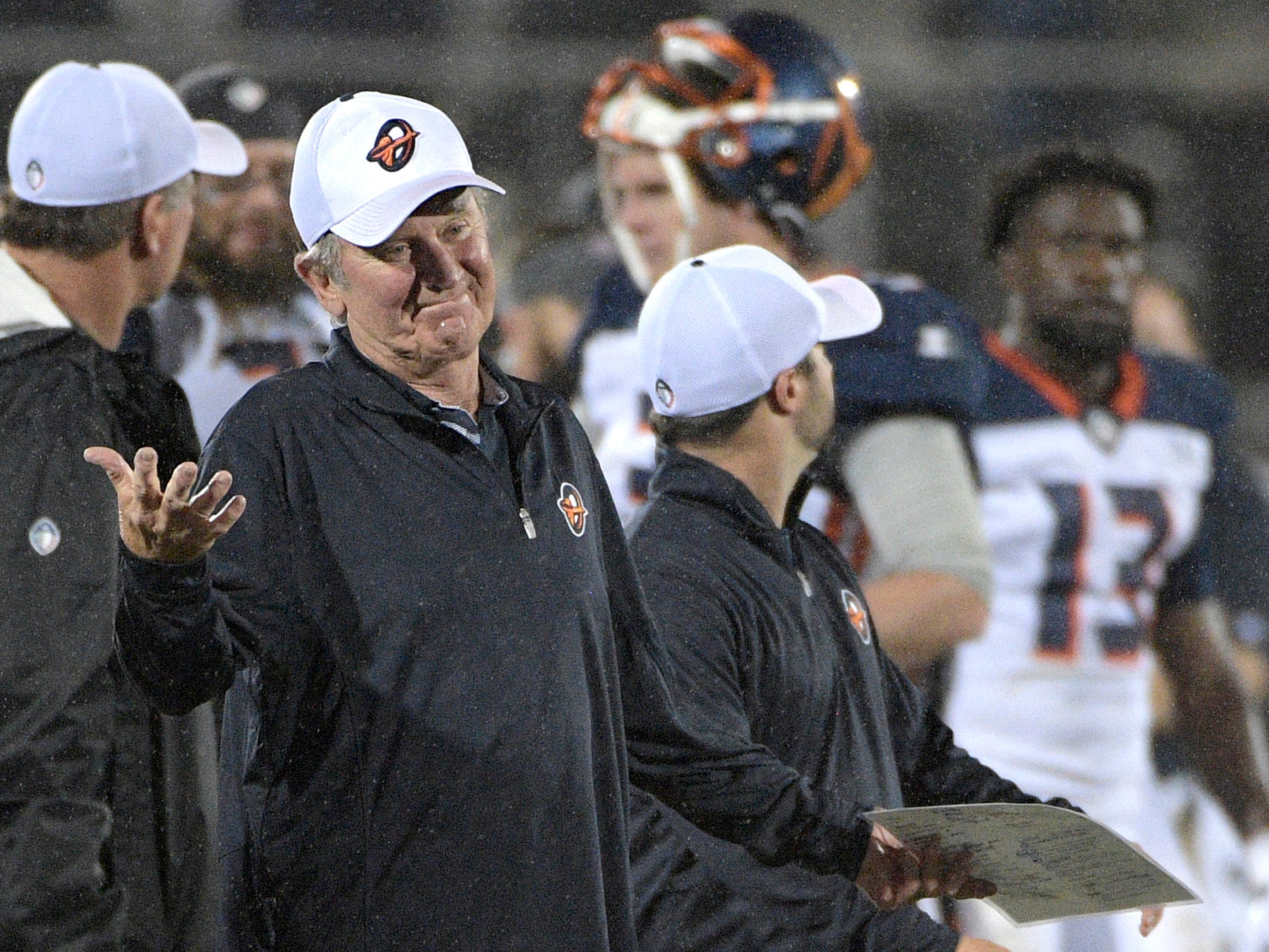 Orlando Apollos coach Steve Spurrier reacts after a play during the second half against the Atlanta Legends.
