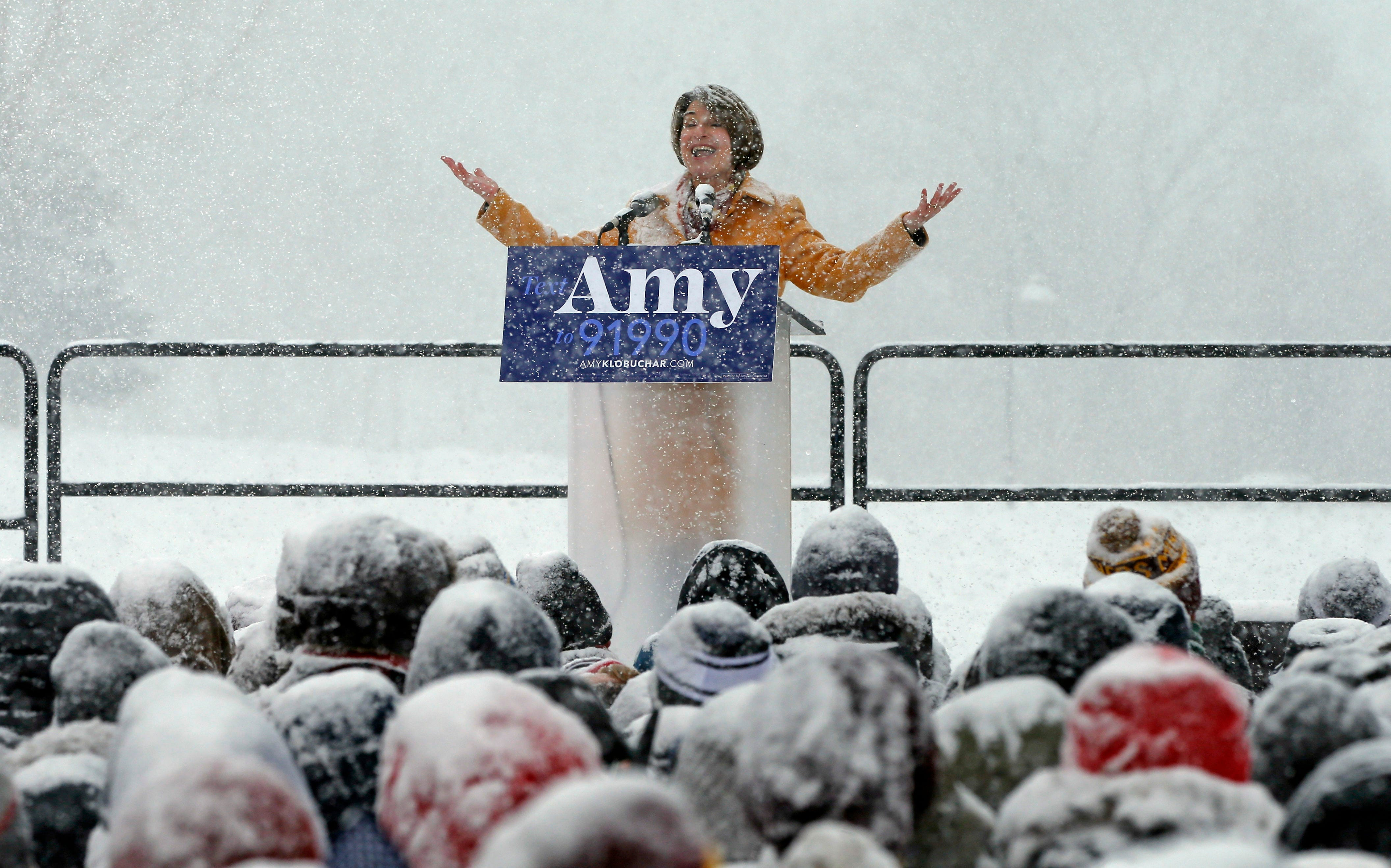 Democratic Sen. Amy Klobuchar addresses a snowy rally where she announced she is entering the race for president Sunday, Feb. 10, 2019, at Boom Island Park in Minneapolis.