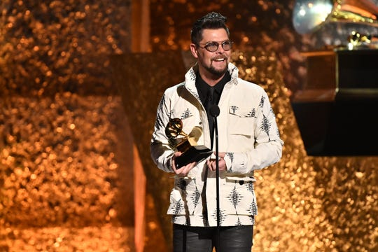 "Jason Crabb accepts the award for Best Roots Gospel Album for ""Unexpected."""