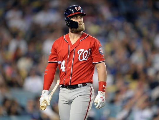 Giants management recently met for four hours in Las Vegas with free agent Bryce Harper, his wife, and agent Scott Boras. (Photo: Gary A. Vasquez, USA TODAY Sports)