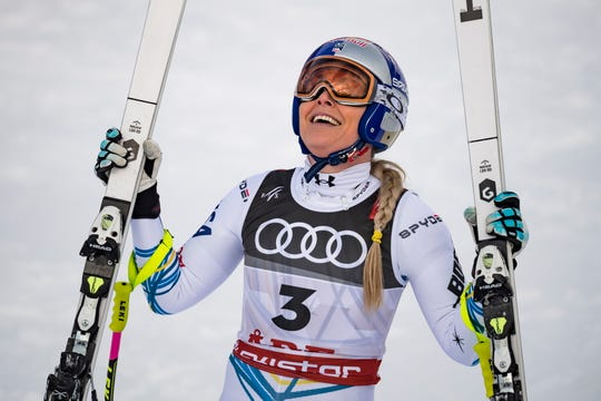 Lindsey Vonn reacts in the finish area during the women's downhill race at the FIS Alpine Skiing World Championships in Are, Sweden.