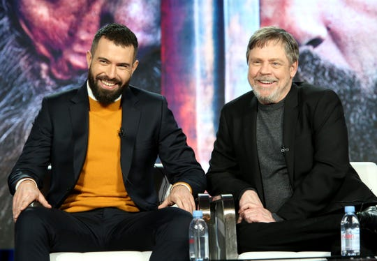 """Tom Cullen and Mark Hamill speak during History's """"Knightfall"""" panel   at the 2019 Winter Television Critics Association Press Tour."""