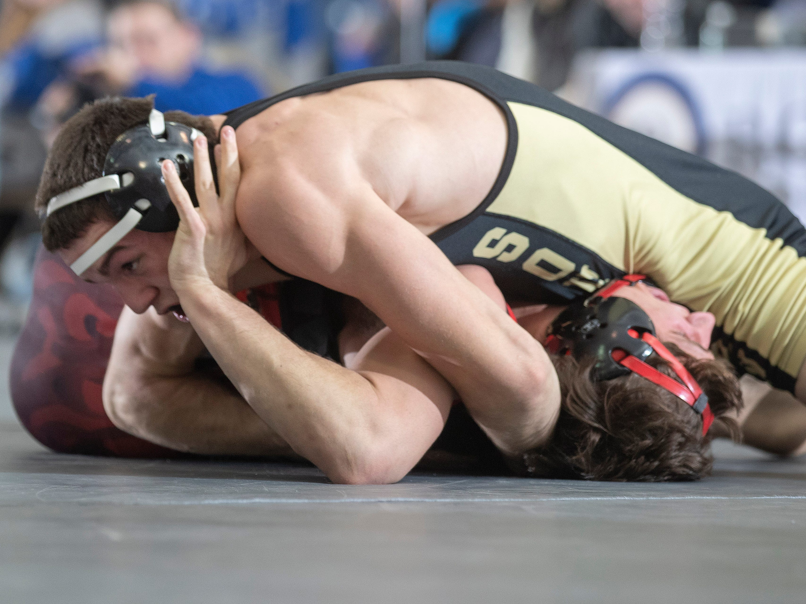 Southern's John Stout pins Hunterdon Central's  Dan Furmato in their 170 lbs. bout.  Southern Regional vs Hunterdon Central in NJSIAA Team Wrestling Group V Final in Toms River NJ on February 10 , 2019.