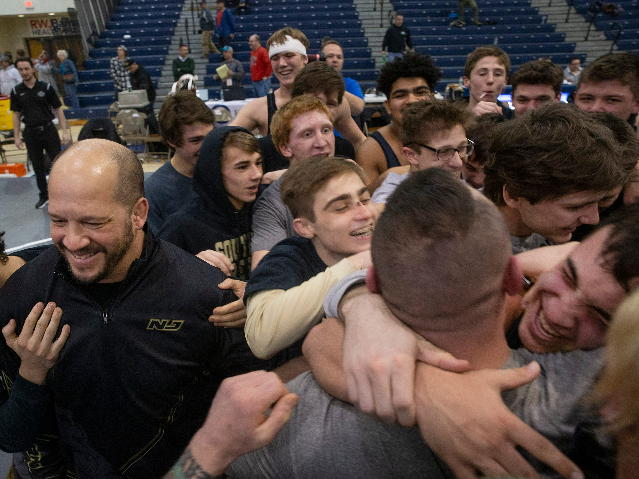 Southern Regional defeats  Hunterdon Central 34-27 in NJSIAA Team Wrestling Group V Final in Toms River NJ on February 10 , 2019.