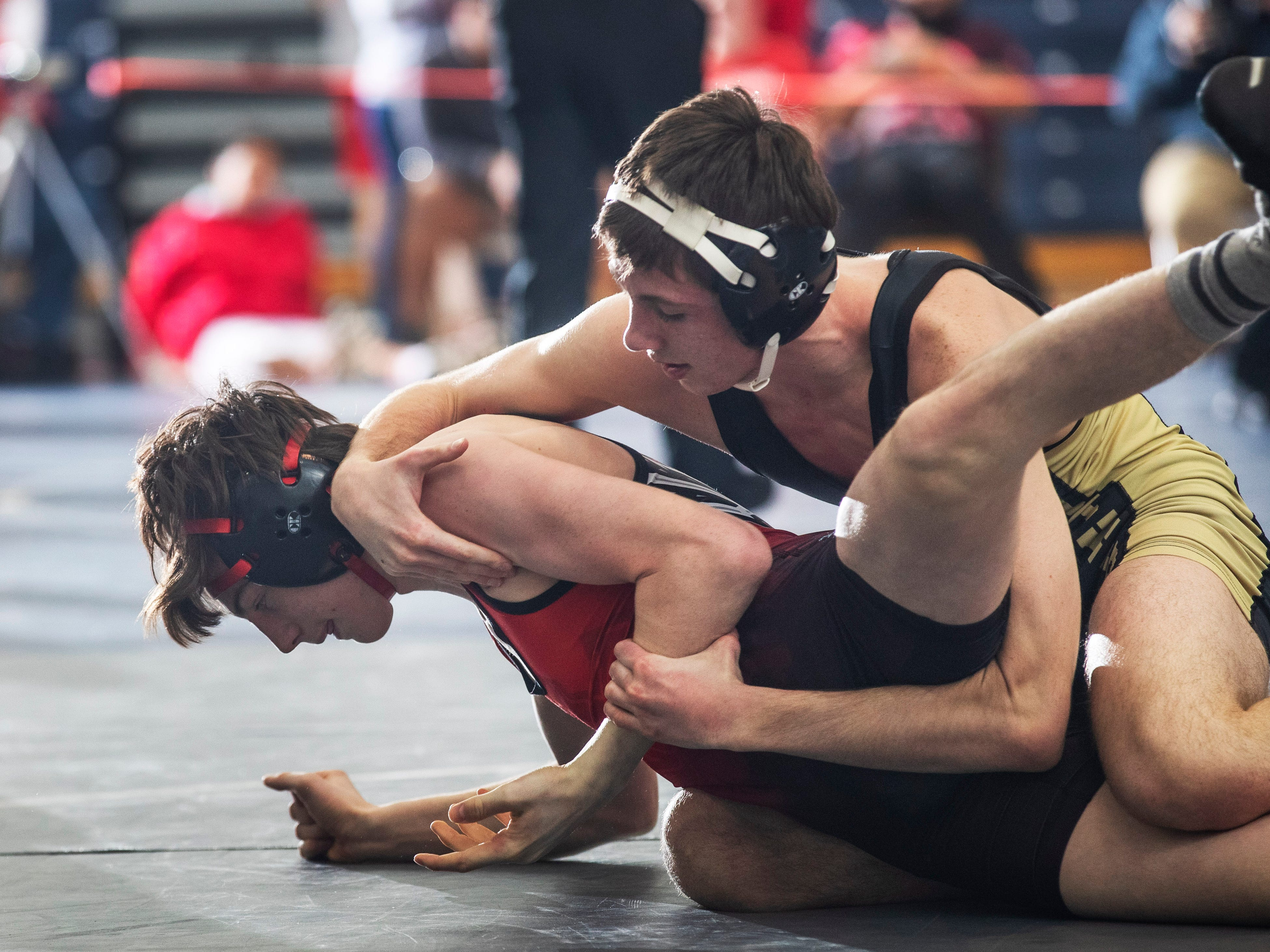Southern's Robert Woodcock defeated Huntedon Central's Anthony Romaniello 11-5 in their 138 lbs. bout.  Southern Regional vs Hunterdon Central in NJSIAA Team Wrestling Group V Final in Toms River NJ on February 10 , 2019.