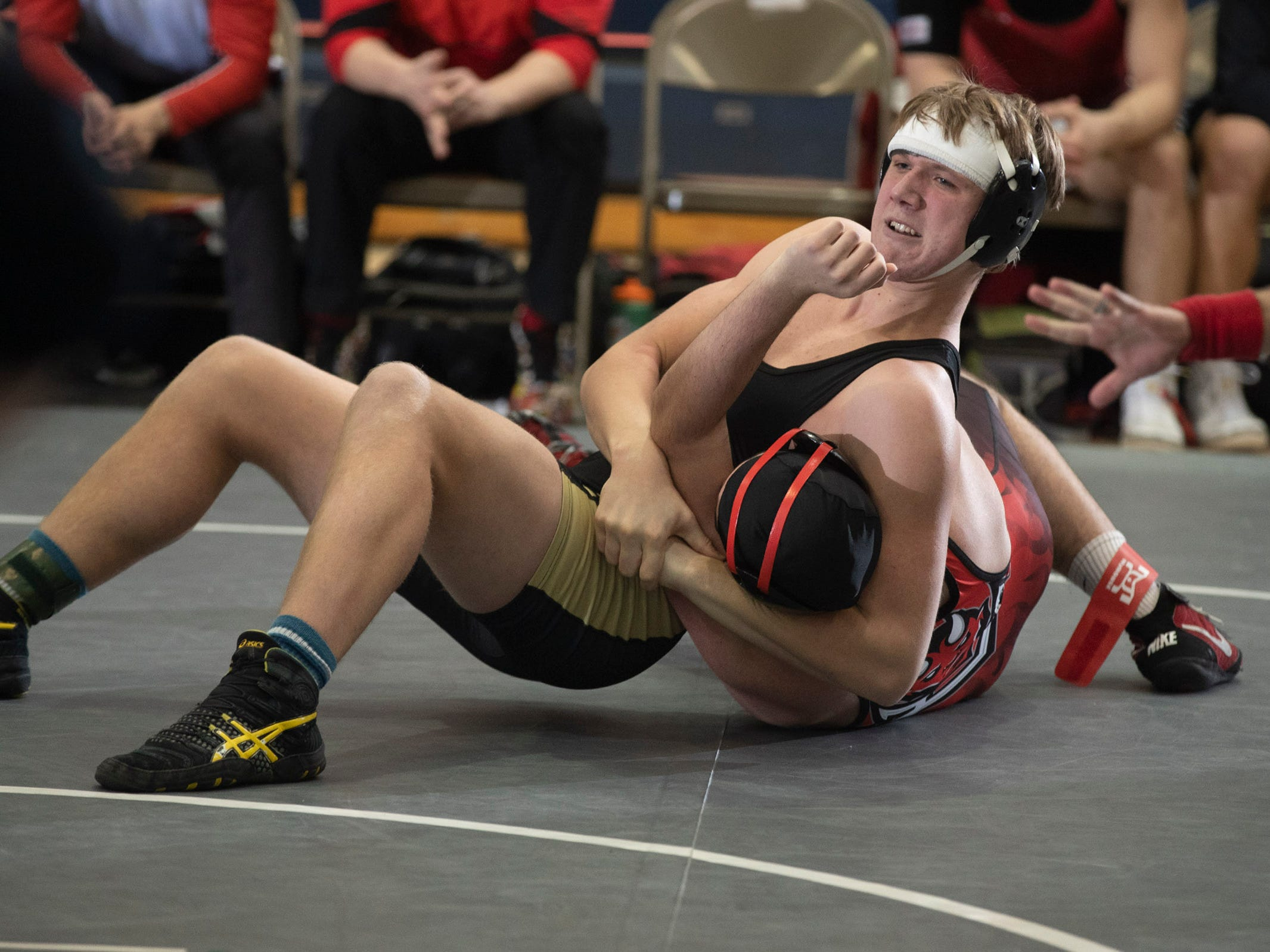 JT Cornelius works for a pin in his 220 lbs. bout. Southern Regional defeats  Hunterdon Central 34-27 in NJSIAA Team Wrestling Group V Final in Toms River NJ on February 10 , 2019.