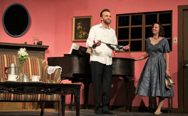 """Doris (Amanda Keith) asks George (Keith May) what Mr. Chalmers, owner of the Sea Shadows Inn at which they meet, would think if he came across George with a girdle in his pocket.  As the years pass in """"Same Time, Next Year,"""" both eventually agree the landlord knows an affair is going on. The show resumes this weekend at Abilene Community Theatre."""