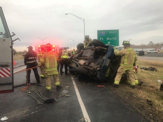 The Abilene Fire Department worked for about an hour to extricate people from two vehicles that crashed at U.S. Highway 83/84 and Interstate 20 on Monday, Feb. 11, 2019.