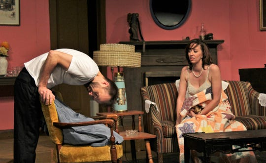 """George (Keith May) is embarrassed when Doris (Amanda Keith) mentions he has called her Dorothy almost from the start of their affair in this rehearsal scene from """"Same Time, Next Year."""" There are three more performances scheduled this weekend at Abilene Community Theatre."""