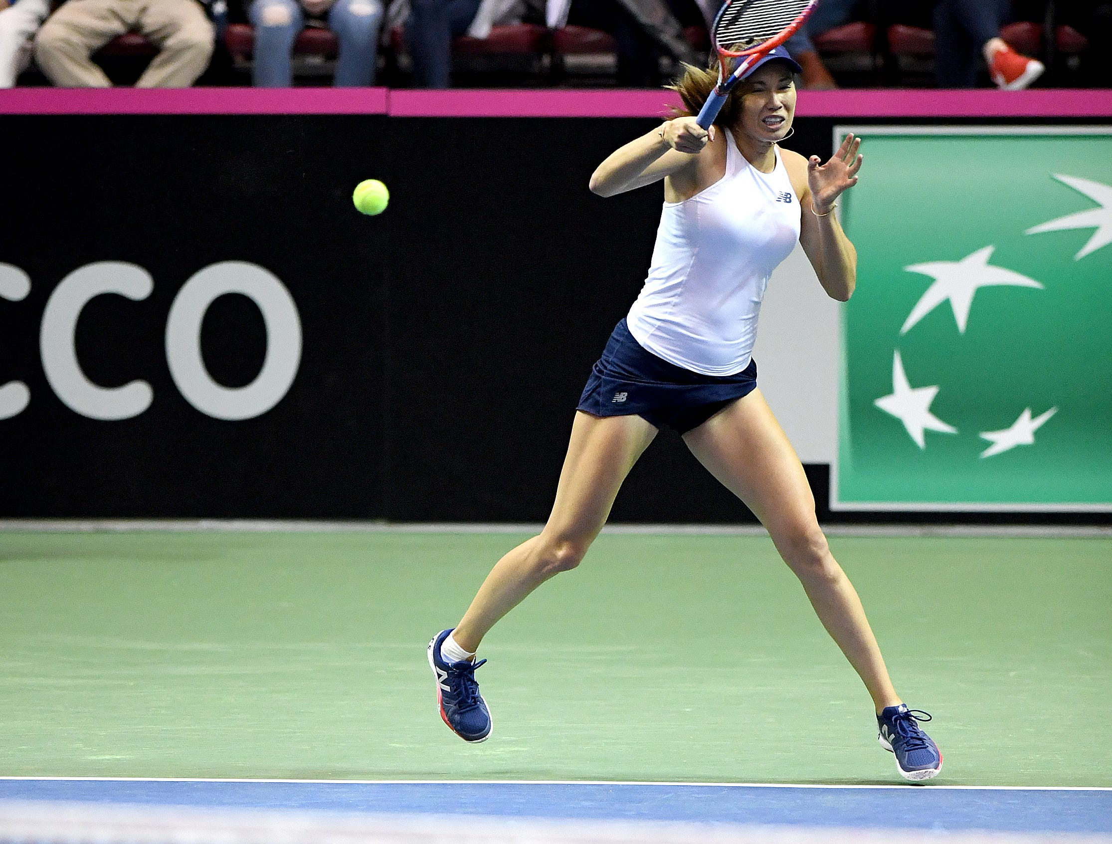 Team USA's Danielle Collins returns the ball during her match against Team Australia's Daria Gavrilova in the first round of the Fed Cup at the U.S. Cellular Center on Feb. 10, 2019.