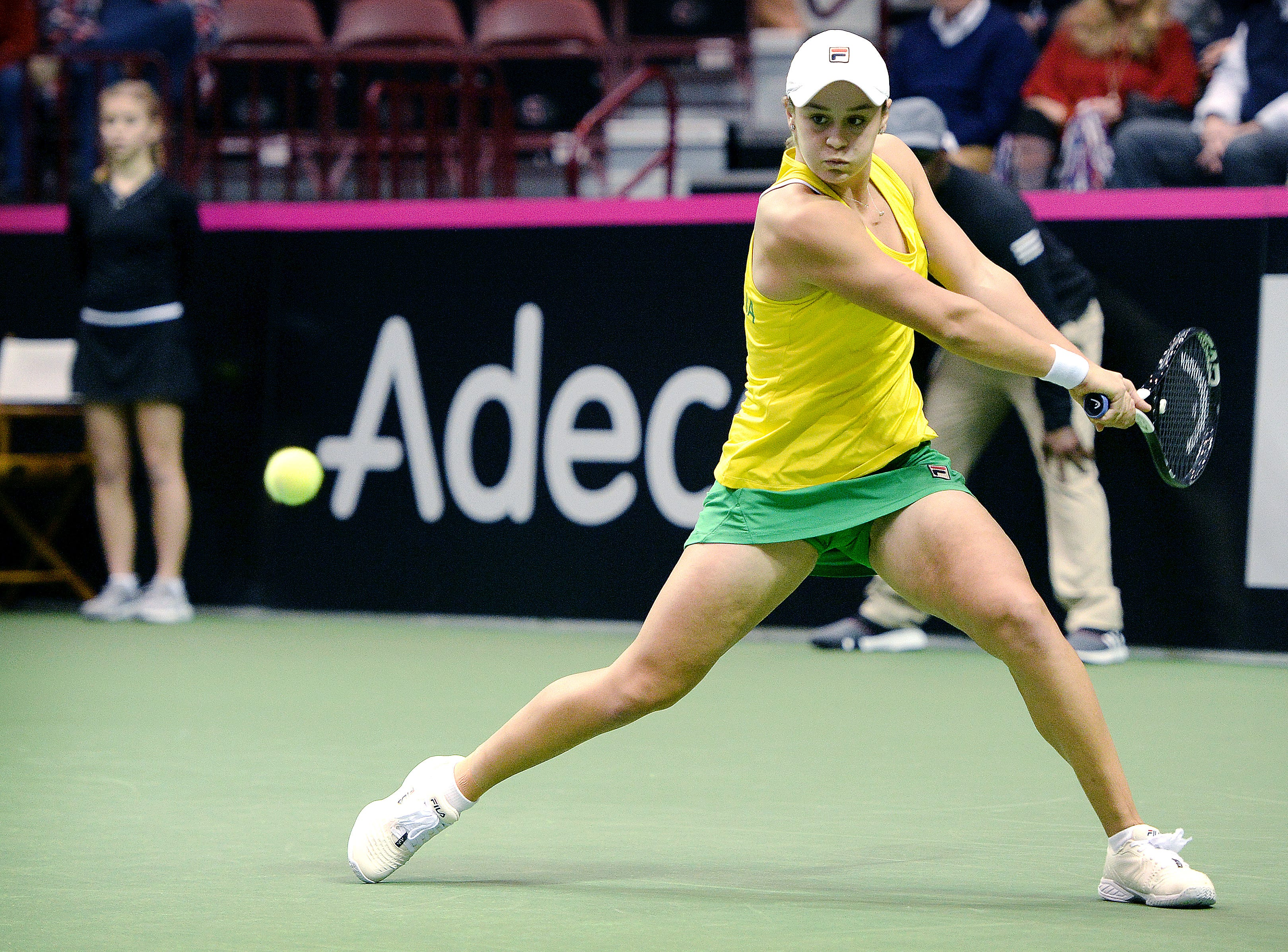 Team Australia's Ashleigh Barty returns the ball in her match against Team USA's Madison Keys in the first round of the Fed Cup at the U.S. Cellular Center on Feb. 10, 2019.