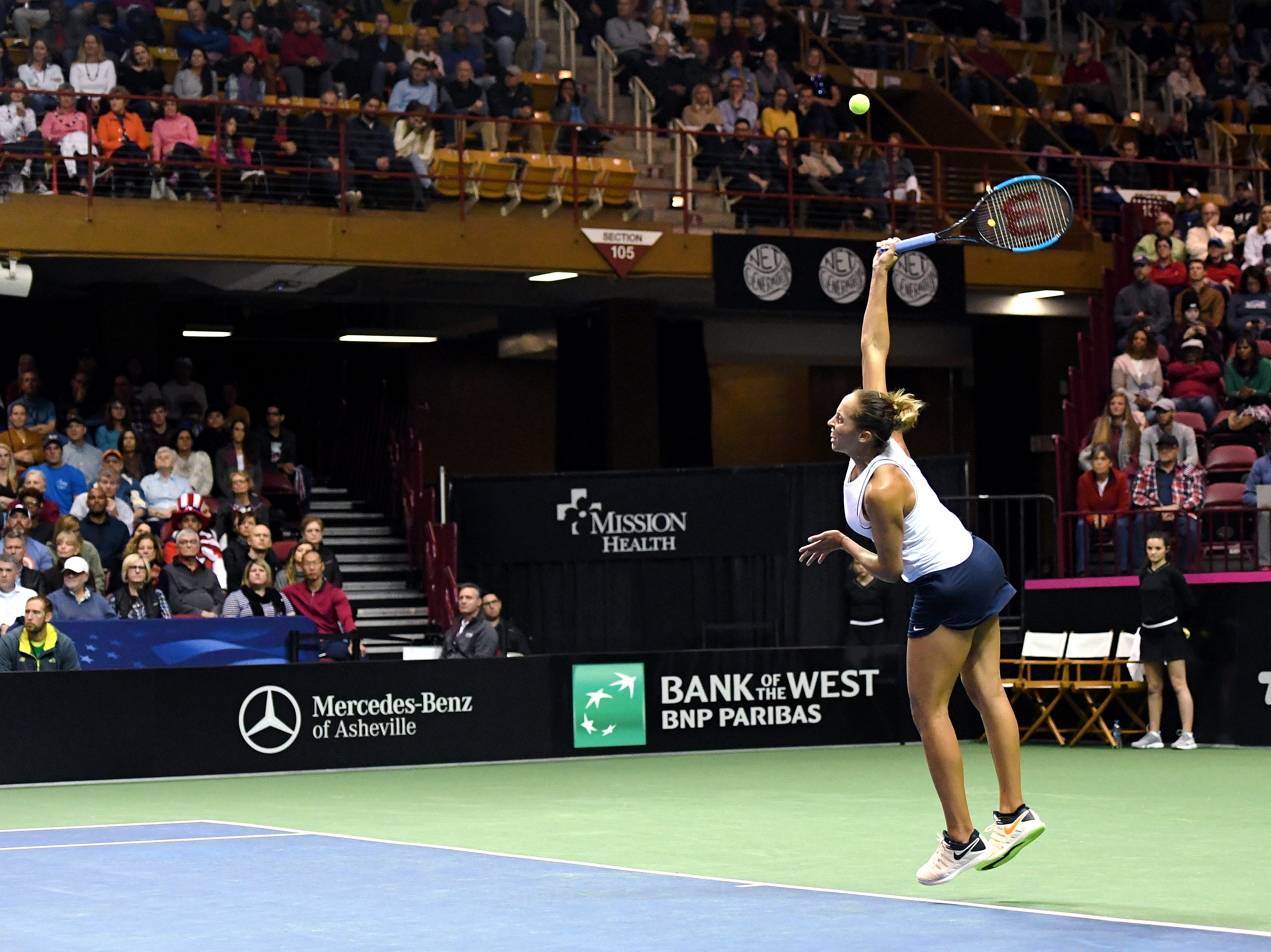 Team USA's Madison Keys serves the ball in her match against Australia's Ashleigh Barty in the first round of the Fed Cup at the U.S. Cellular Center on Feb. 10, 2019.
