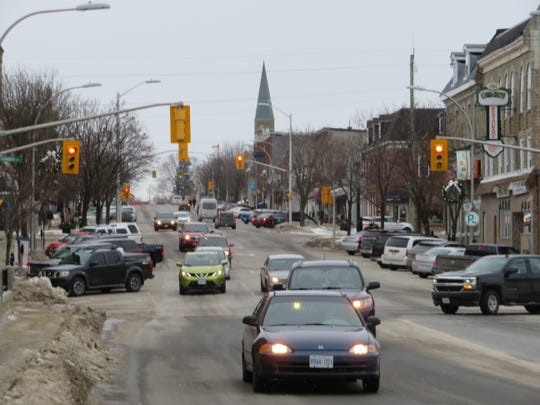 Downtown Smiths Falls, Ontario on a recent February afternoon. Canopy Growth expansions have spurred a new wave of investment in this once economically beleaguered community.