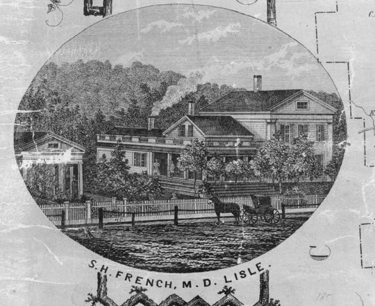 The Dr. French home in the Village of Lisle, as it appeared in the 1850s.