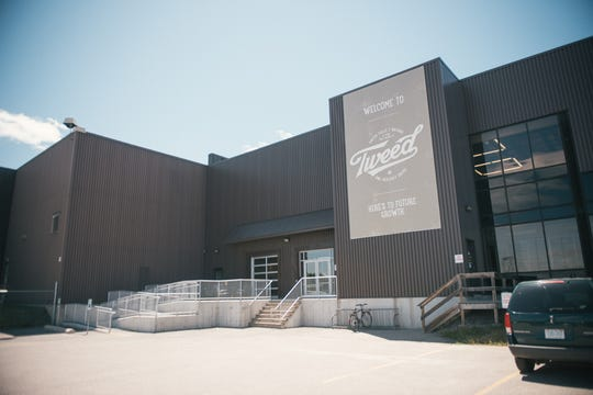 The entrance to the Canopy Growth facility in Smiths Falls, Ontario. The former 450,000-square-foot Hershey's chocolate plant is being expanded to nearly 1-million square feet to accommodate growth.