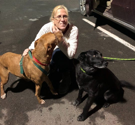 Tracy Lynn Ayers greets two new rescue dogs. She and her family run Harper's Haven Dog Rescue, which helps find new homes for dogs whose owners are in hospice care.