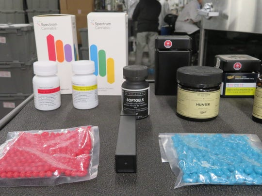A sampling of the products manufactured in Smiths Falls, Ontario by Canopy Growth. The company manufactures THC-laden ointments gel tablets and other products for the recreational and medicinal market.