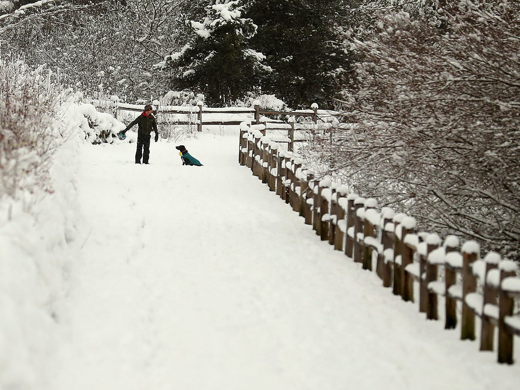 Bryan Schmitt gets ready to toss his dog Kona's ball down the trail as they play in the snow at the Clear Creek Trail in Silverdale on a snowy Monday, February 11, 2019.