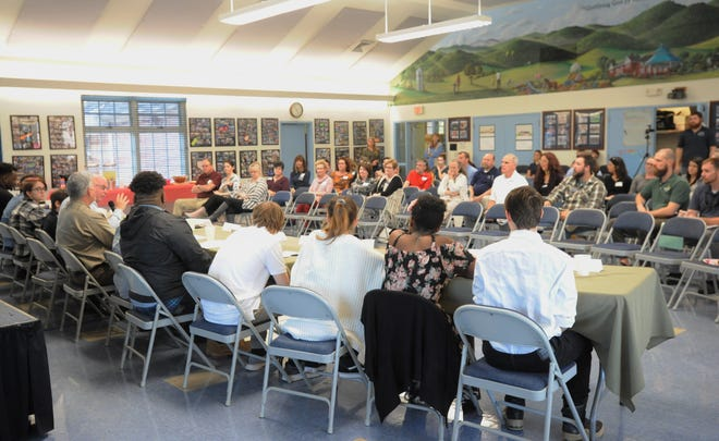 A panel of students from the Black Mountain Home for Children discuss their experiences in the program with staff, volunteers and other members of the community on Feb. 7.