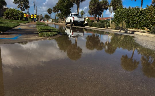 Water main break causes flooding on Desoto Parkway in Satellite Beach.