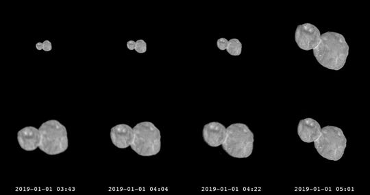 This combination of images provided by NASA shows a series of photographs made by the New Horizons spacecraft as it approached the Kuiper belt object Ultima Thule on Jan. 1, 2019.