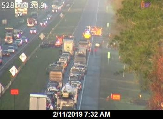 A crash and vehicle fire have blocked all westbound lanes on State Road 528, west of S.R. 520 in Orange County.