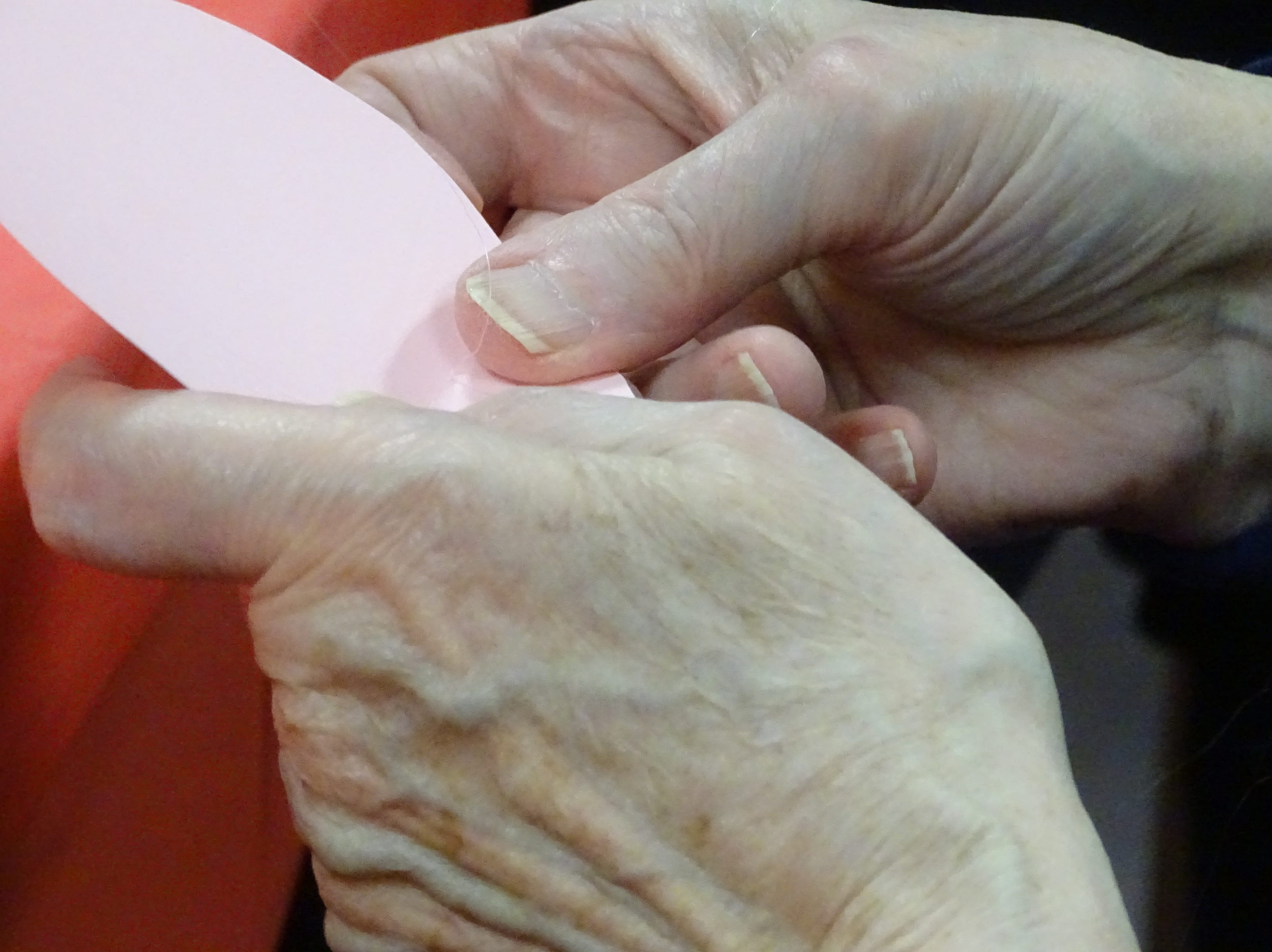 A crafter glues the bottom of a paper rose petal.