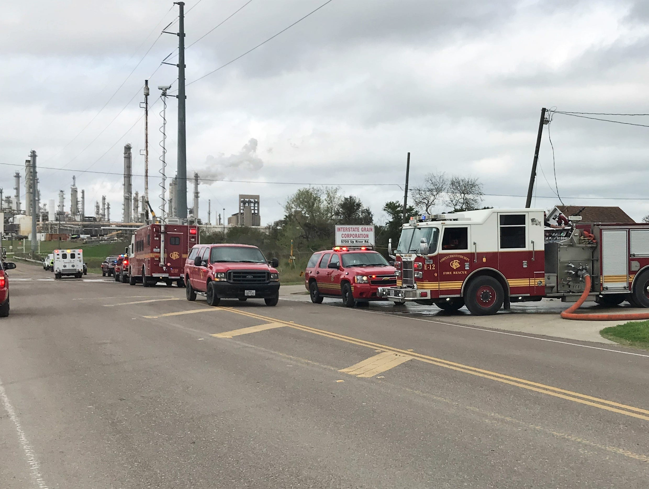 Corpus Christi fire crews work to extinguish a grain silo fire near the intersection of Up River Road and Lantana Street on Feb. 11, 2019.