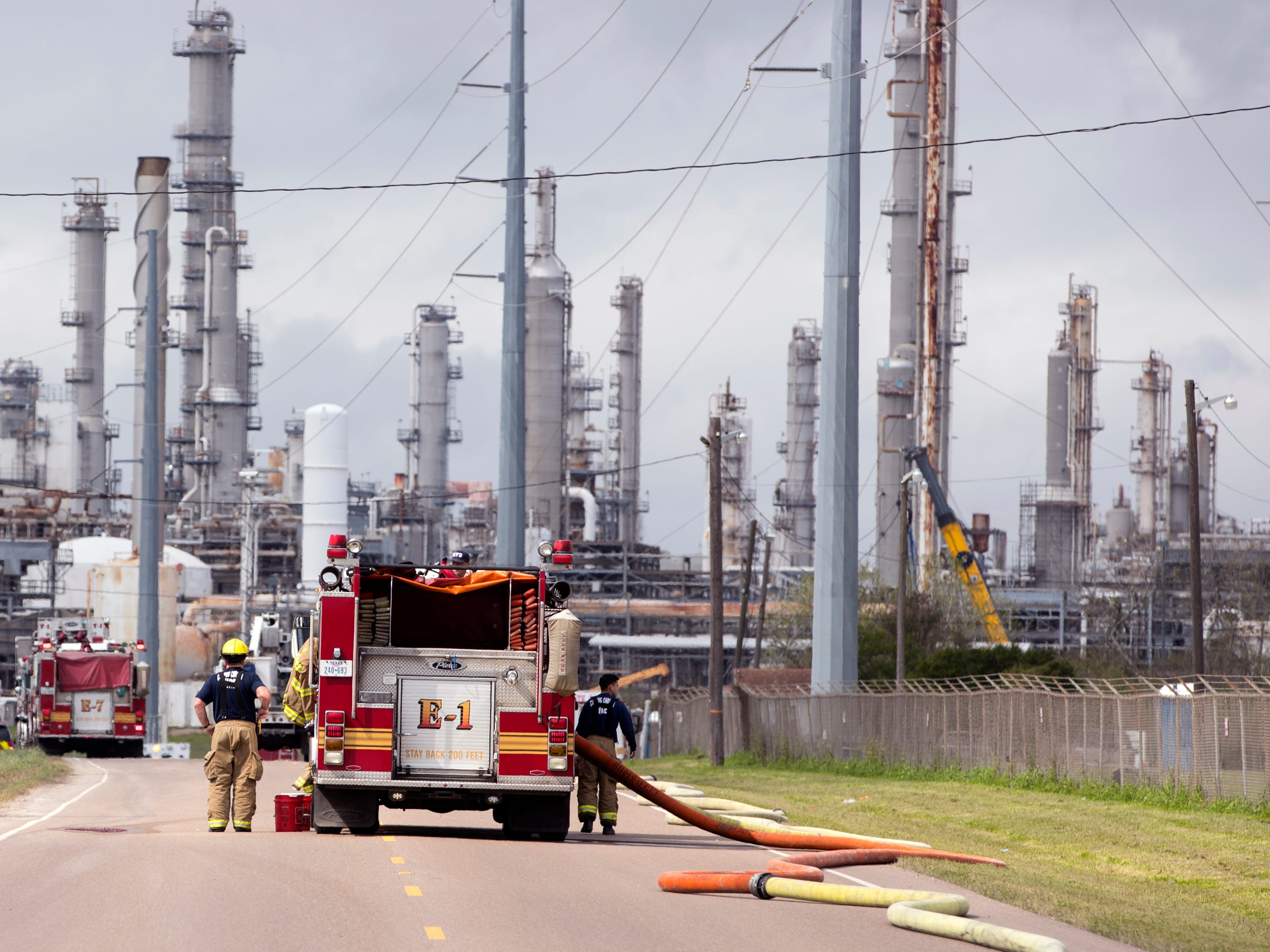 The Corpus Christi Fire Department works to extinguish a grain silo fire at the Interstate Grain Port Terminal near the intersection of Up River Road and Lantana Street on Monday, Feb. 11, 2019.