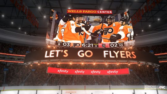 The new scoreboard will be in place at Wells Fargo Center by the time the Flyers start next season.