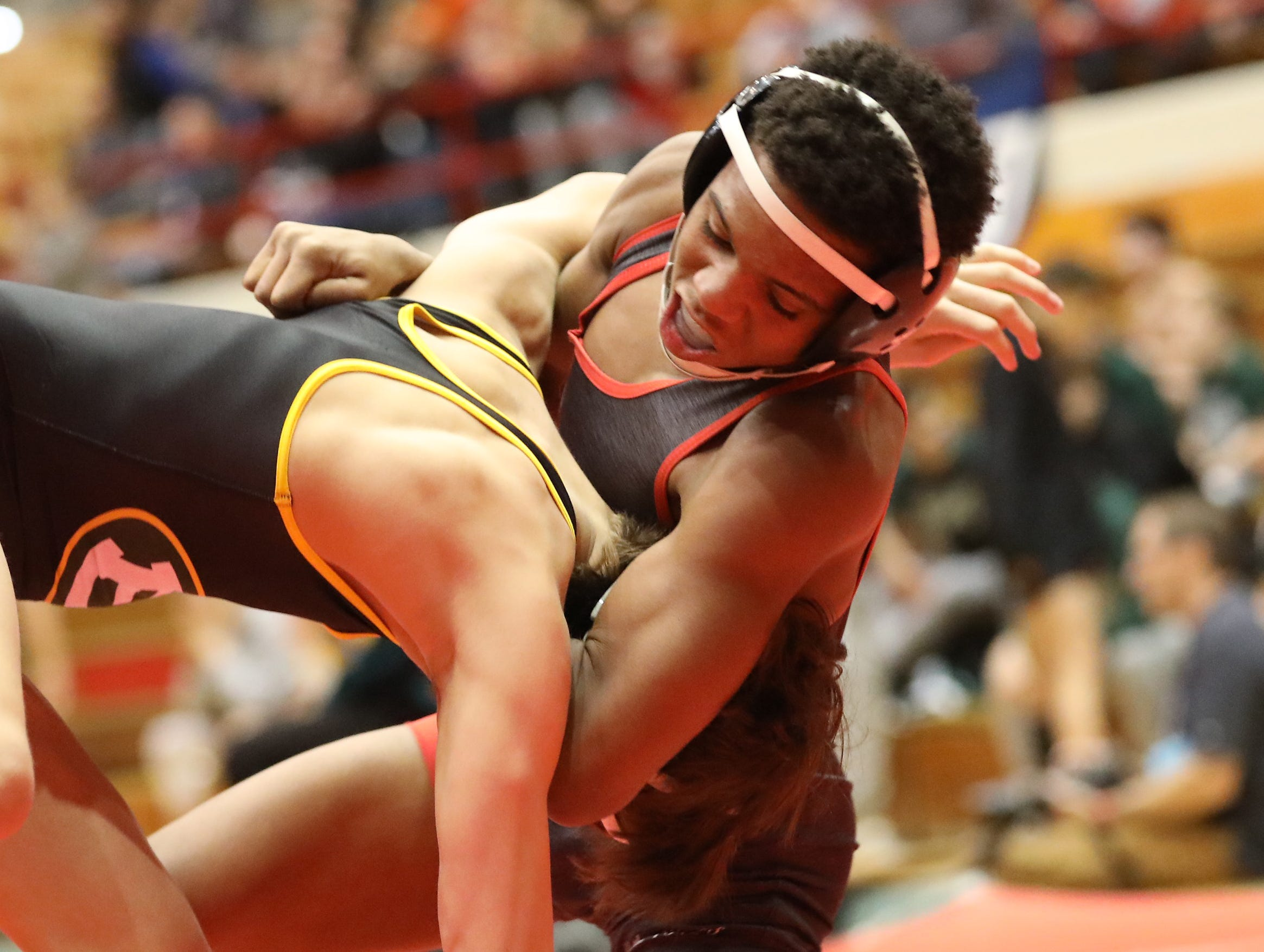Lasalle wrestler  Antonie Allen  battles  Lakewood St. Edward wrestler  Hudson Poole during the State Dual Meet in Columbus Ohio, Sunday, Feb. 10,2019.