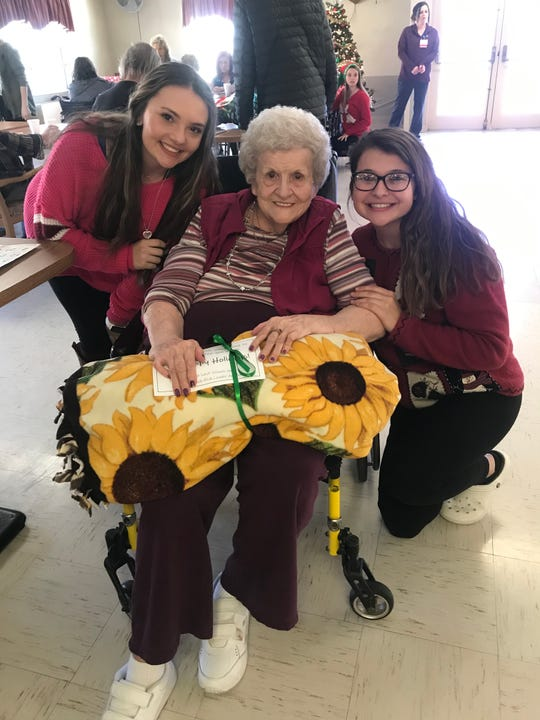 Kirsten Hall and Zoe Young enjoyed their time with a center resident.