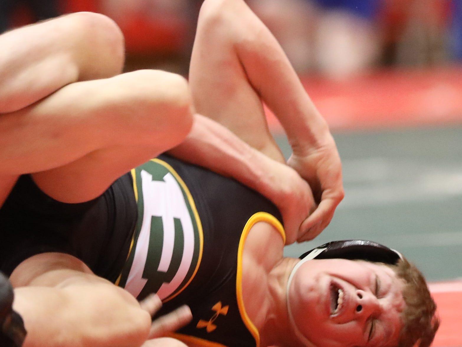 La Salle wrestler Cole Skinner battles Lakewood St. Edward wrestler Sean Seefeldt  during the state dual wrestling meet in Columbus, Ohio, Sunday, Feb. 10, 2019.
