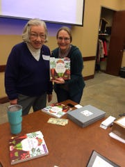 From left: Kay Russ, president of Happy Gardeners Garden Club and Amy Stross, author of the Suburban Micro-Farm.
