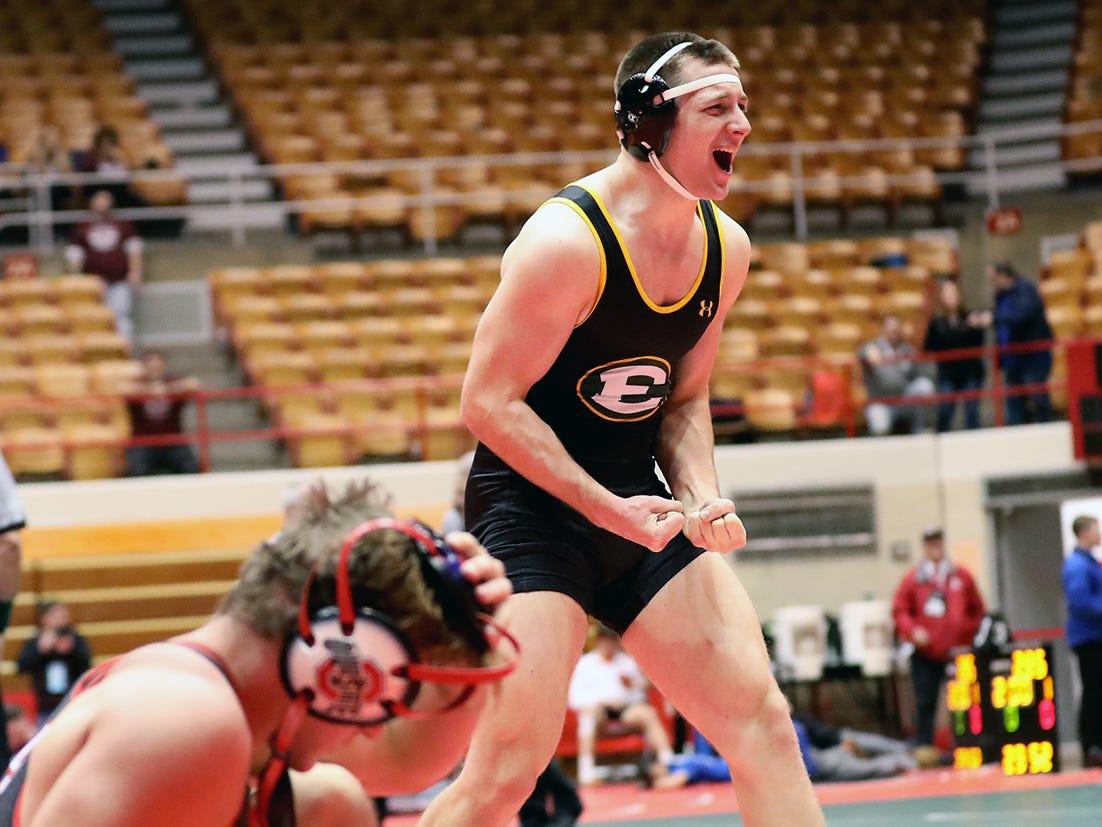 Lakewood St. Edward wrestler Seamus O'Malley reacts after pinning La Salle wrestler Jarred Uran during the state dual meet in Columbus, Ohio, Sunday, Feb. 10, 2019.