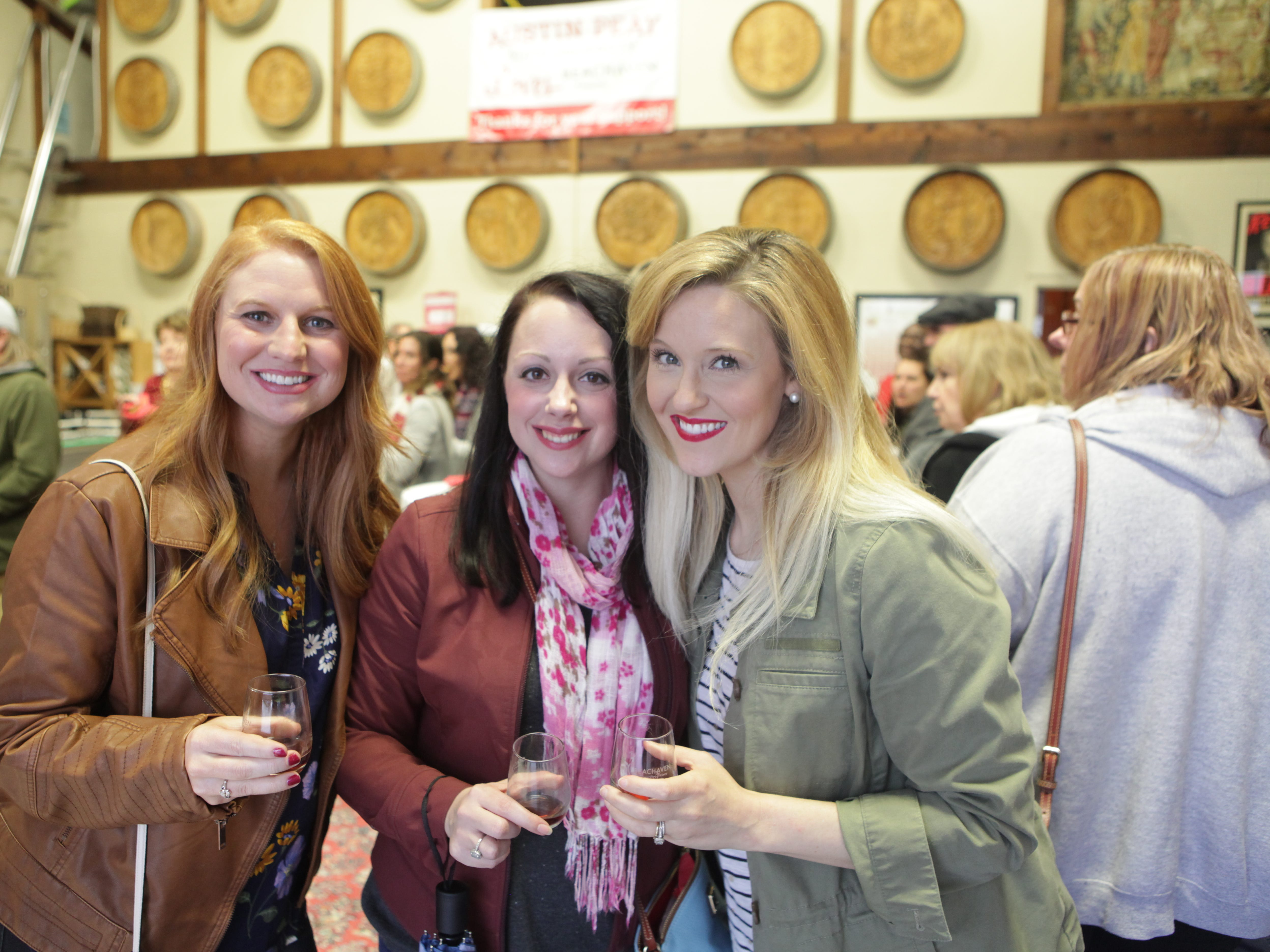 Angela Frazier, Morgan Stickard, and Caitlin Norwood at the Chocolate and Wine Tasting at Beachaven Winery on Sunday, Feb. 10, 2019.