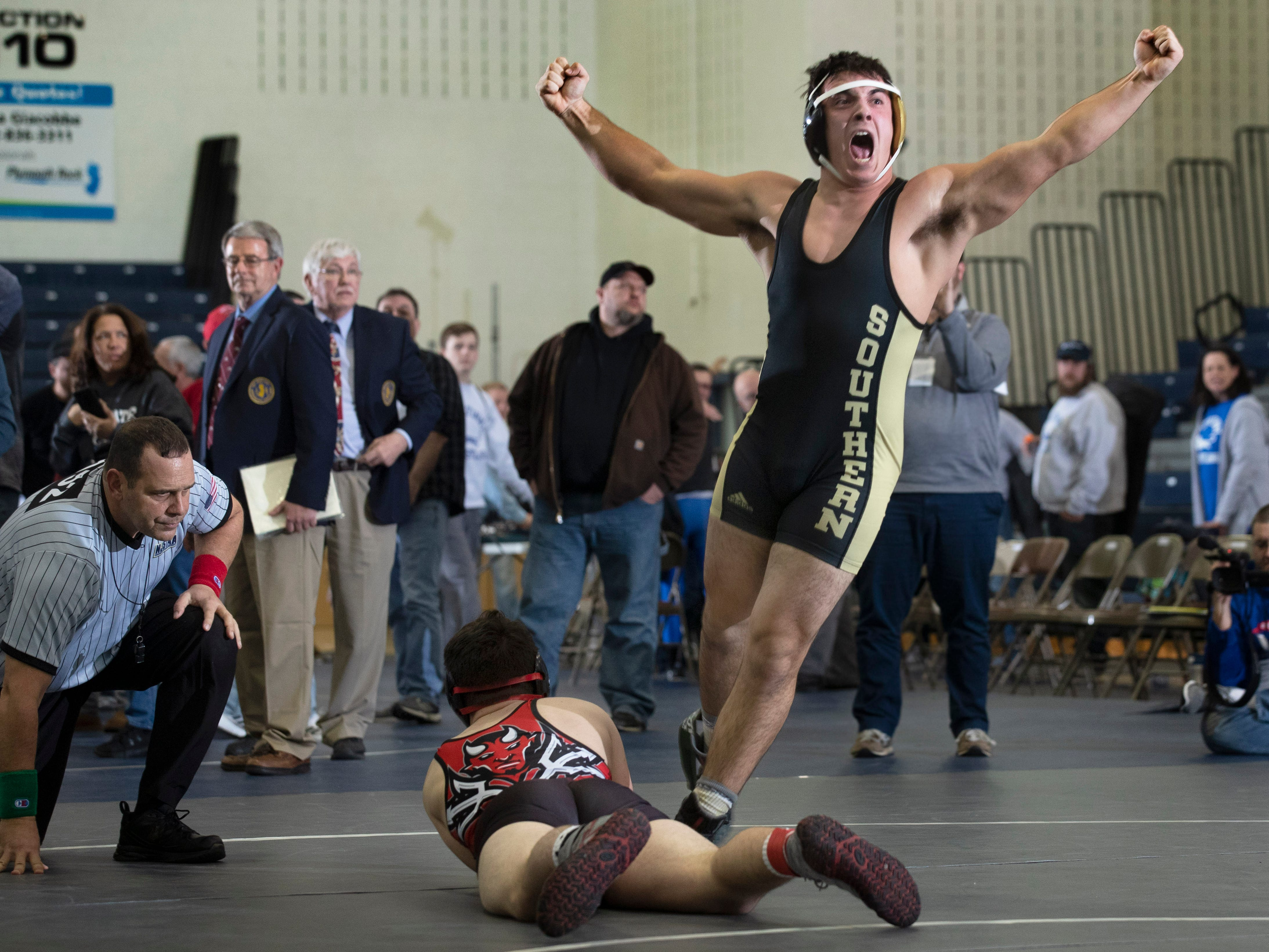 Southern's Ben zoParo celebrates after pinning his 195 lbs. oppenent. Southern Regional defeats  Hunterdon Central 34-27 in NJSIAA Team Wrestling Group V Final in Toms River NJ on February 10 , 2019.
