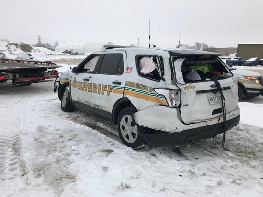 Polk County Sheriff Deputy Brian Anderson was hospitalized after a pickup truck lost control and hit his vehicle.