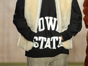 Menswear designer Todd Snyder showed Iowa State hoodies at his Iowa-inspired show, which kicked off New York Fashion week on Feb. 4, 2019. The show's set and menu were a nod to Des Moines bar The High Life Lounge. Photo by  Maria Valentino.